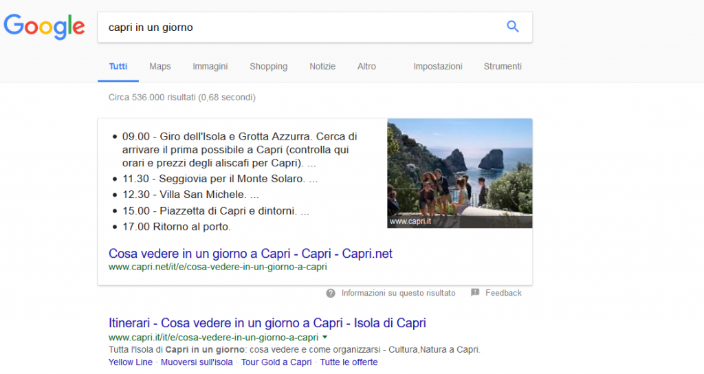 Featured Snippets esempio