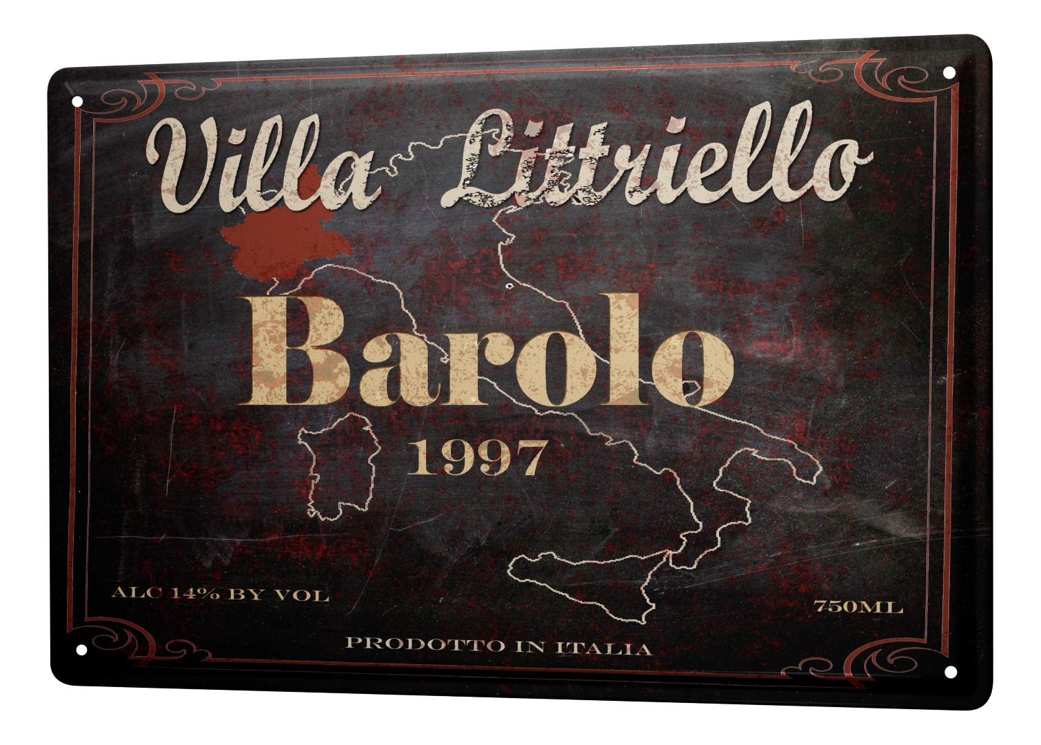 plaque maill e m tal affiche affiches vin rouge italie cuisine d coration. Black Bedroom Furniture Sets. Home Design Ideas