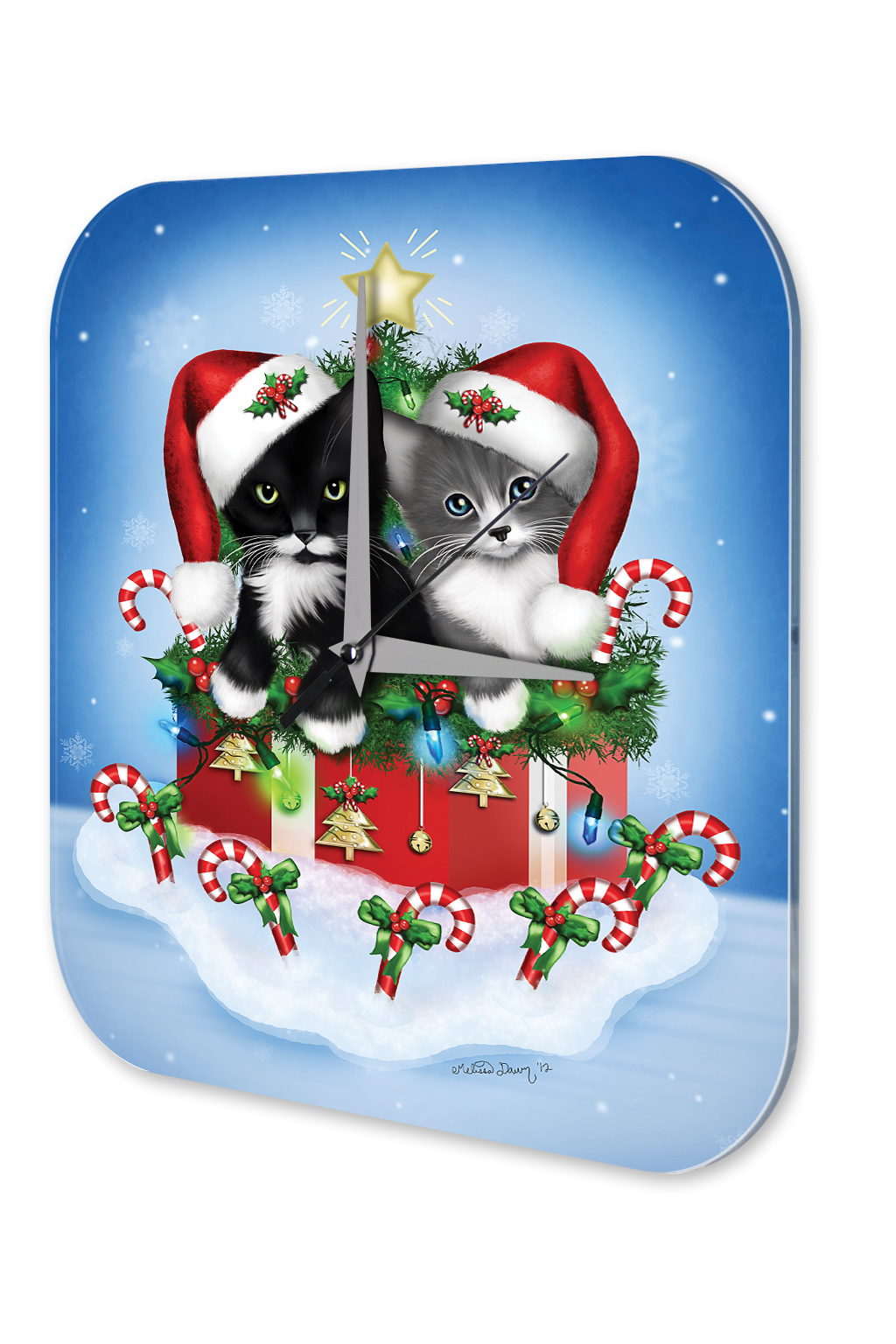 Wall clock christmas decoration cat santa hat gift printed for 180 degrees christmas decoration