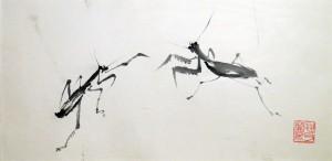 «Богомолы», тушь, бумага, 35х17, 2003 г.