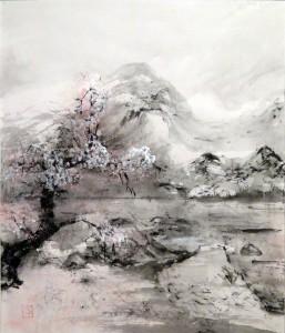 «Весна», тушь, минеральные краски, бумага, 56,5х65, 2009 г.