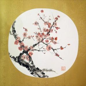 «Ветка сакуры», тушь, минеральные краски, шелк, 35,5х36, 2010 г.