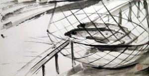 «На рыбалке», тушь, бумага, 67х35, 2011 г.