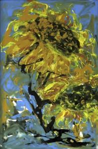 «Подсолнухи», стекло, краски, 30х45, 2014 г.