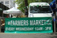 farmers market sign at swiss cottage