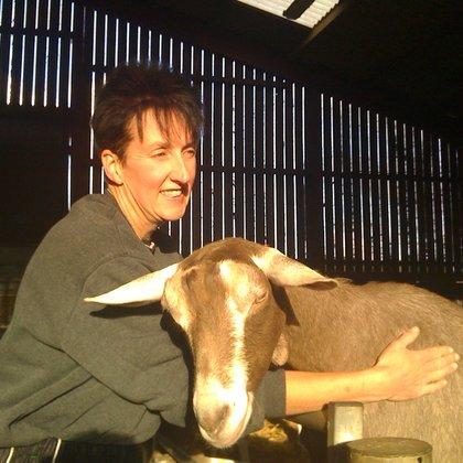 Debbie V with goat large 2012