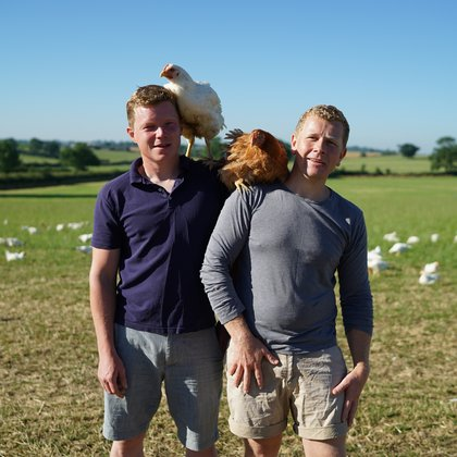 Fosse Meadows Jacob and Nick with chickens