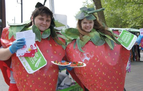 strawberry promotion with costumes