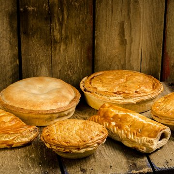 Cooked local foods, pies