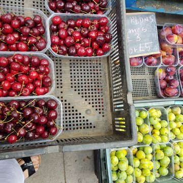 cherries, plums, greengages