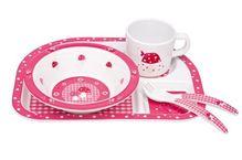 Lässig Dish Set 4-teiliges Kindergeschirrset mit Schale, aufgeteiltem Teller, Tasse und Besteck aus 100% Melamin, Mushroom magenta