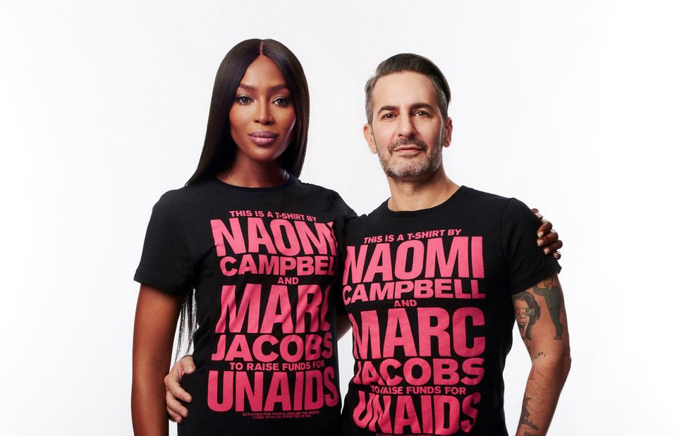 Naomi Campbell, Marc Jacobs and UNAIDS announce T-shirt collaboration