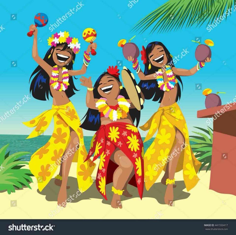Добрым, гавайская вечеринка открытки