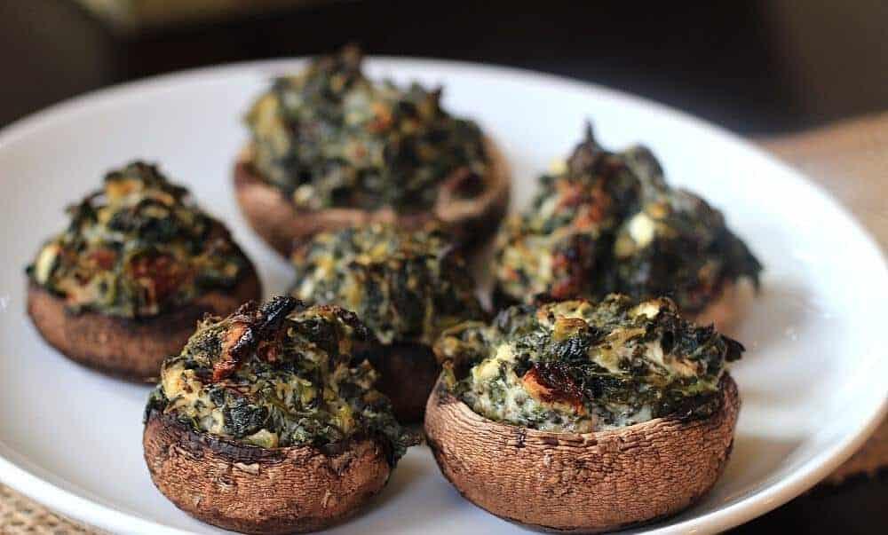 Champignons met spinazievulling