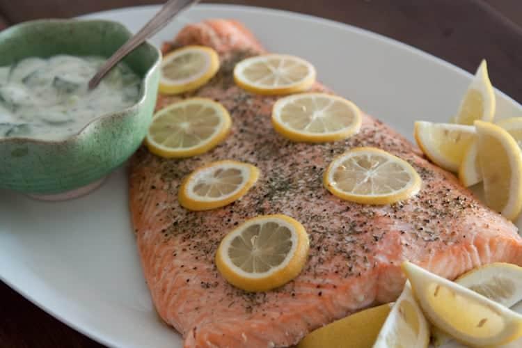 Zalm met citroen en dille uit de oven