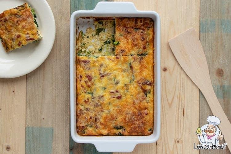 Frittata met spinazie, champignons en bacon.