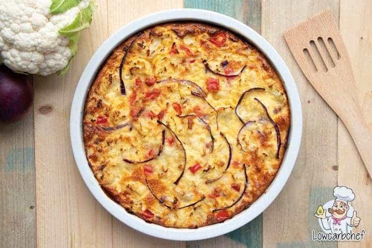 Quiche met bloemkool en kaas.