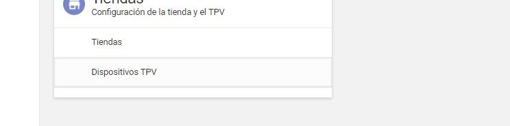Menú de dispositivos TPV en Loyverse
