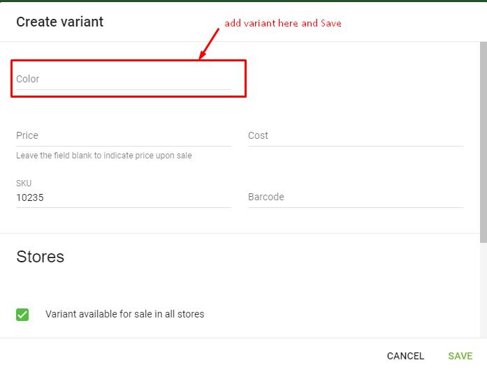 product variants create