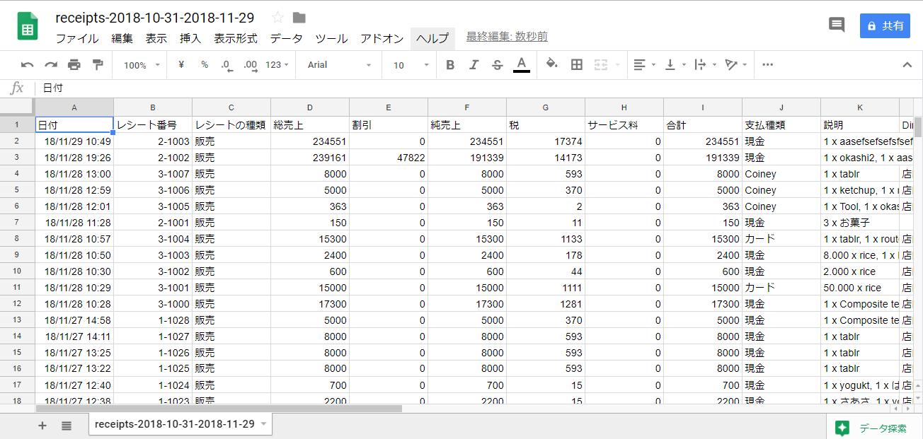 エクスポートされたレシート一覧のCSVファイルをエクセル