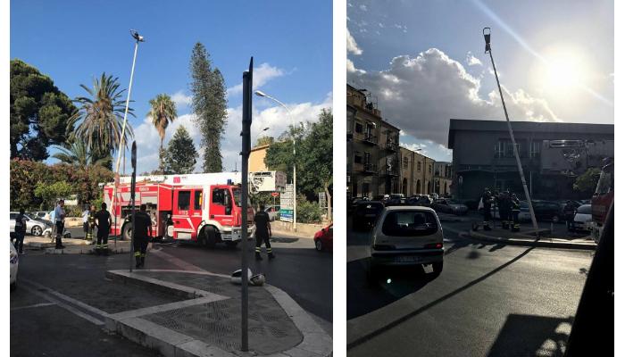 Termini Imerese: I vigili del fuoco urtano un palo della luce, panico a Termini bassa
