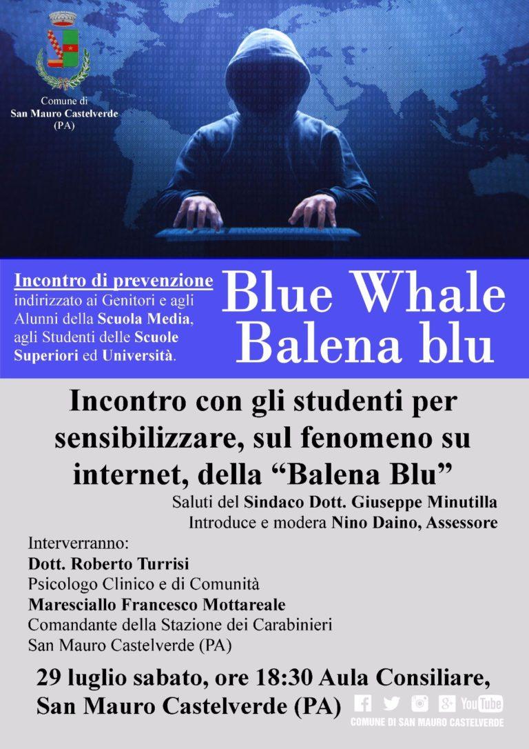 """Incontro di prevenzione sul """"Blue Whale"""" (balena blu) a San Mauro Castelverde"""