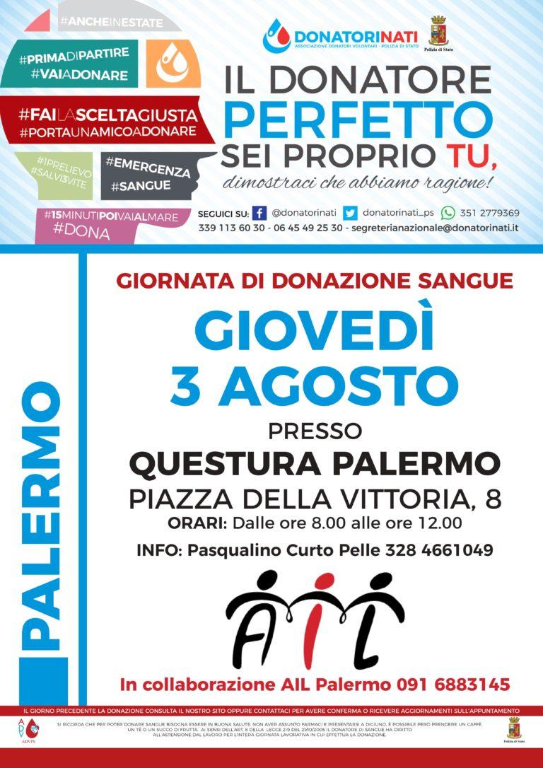 EMERGENZA SANGUE IN SICILIA: LA QUESTURA DI PALERMO IN CAMPO PER LA RACCOLTA E LA DONAZIONE DEL SANGUE