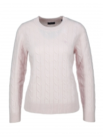 D2. LAMBSWOOL CABLE C-NECK, LIGHT PINK