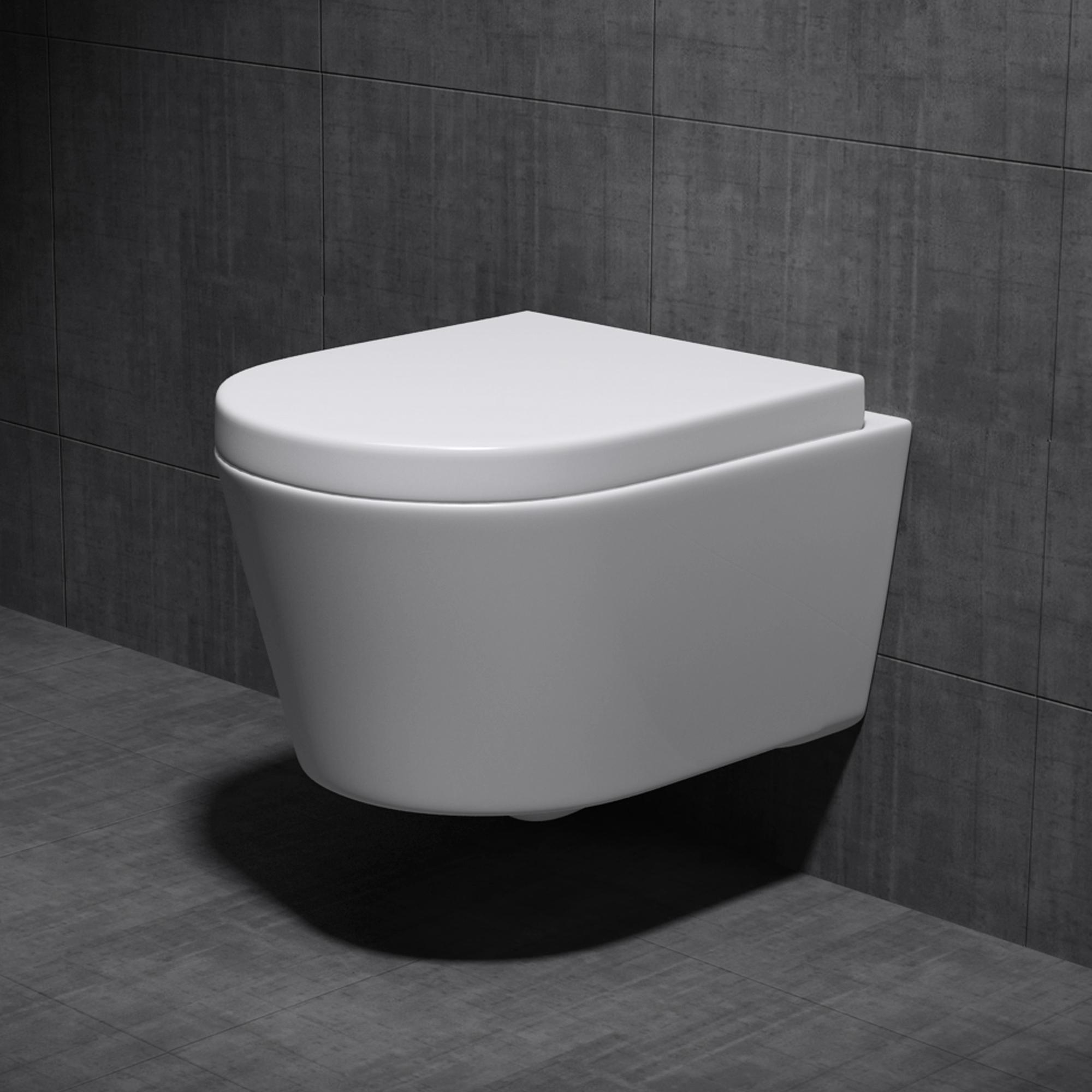 Sogood Edle Design Toilette Hänge-WC mit komfortablem Silent-Close-Sitz A101