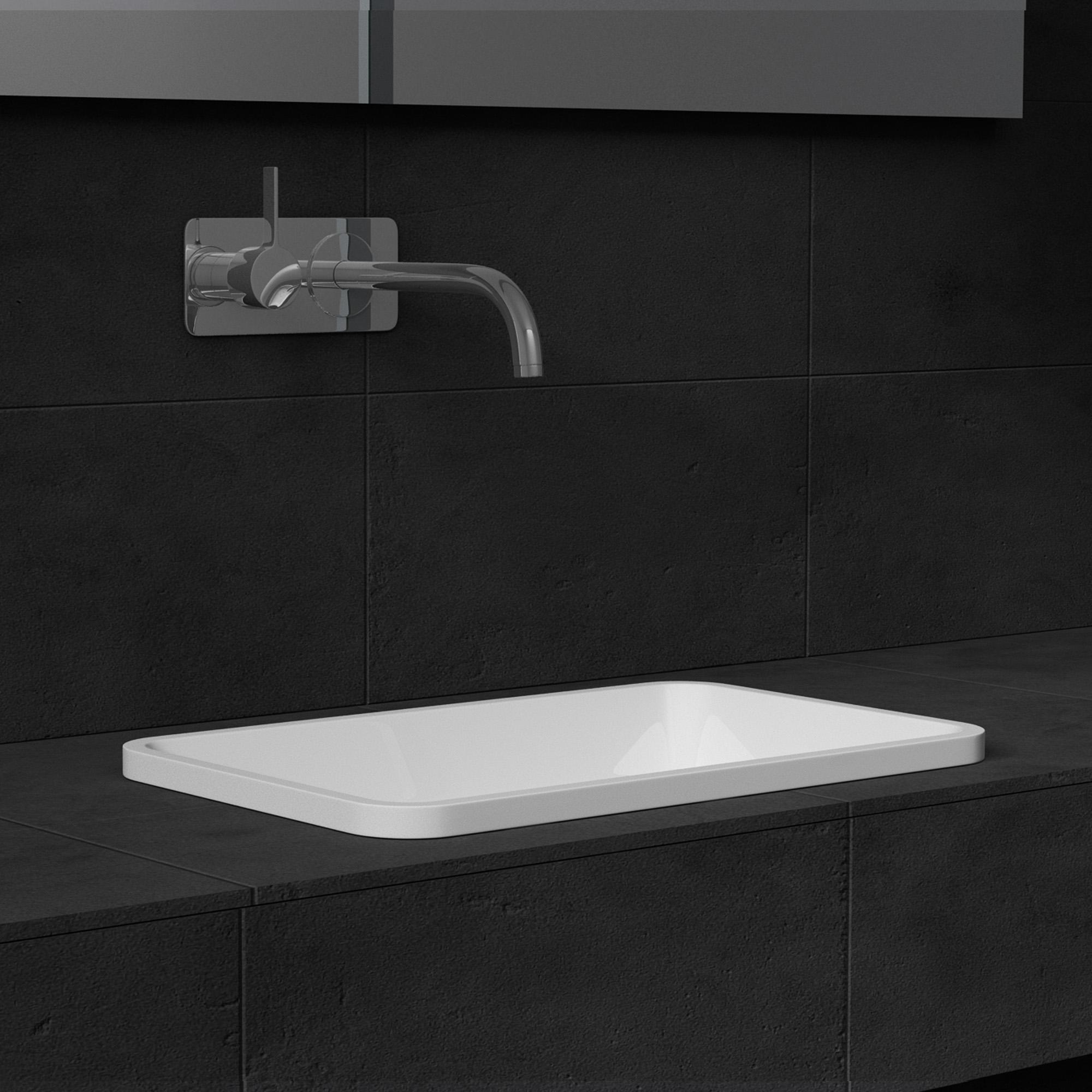 mineralguss weiss gl nzend waschbecken einbauwaschbecken waschtisch gussmarmor ebay. Black Bedroom Furniture Sets. Home Design Ideas