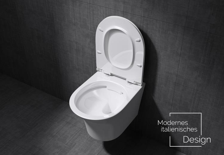 design sp lrandloses wc h nge toilette mit silent close h nge wc aachen309 ebay. Black Bedroom Furniture Sets. Home Design Ideas