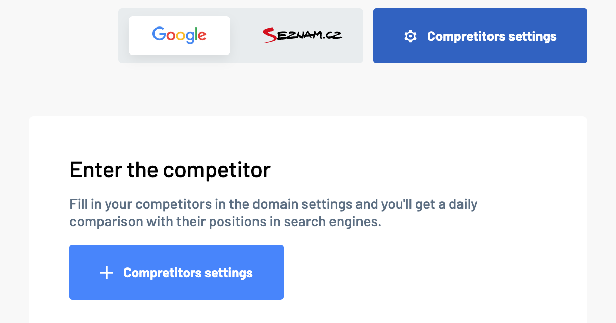 Competitors settings in Marketing Miner projects