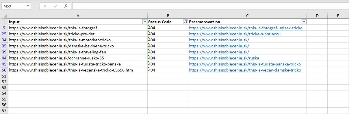 Excel ukázka výstupu
