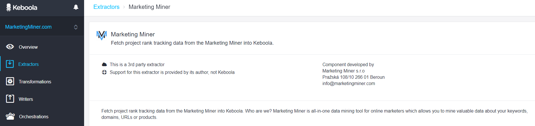 Extractor pro Marketing Miner