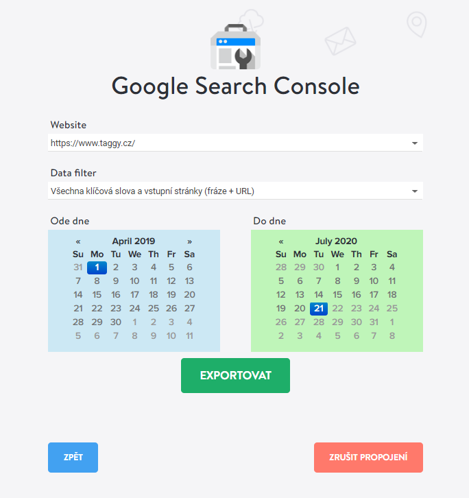 Google Search Console export dat