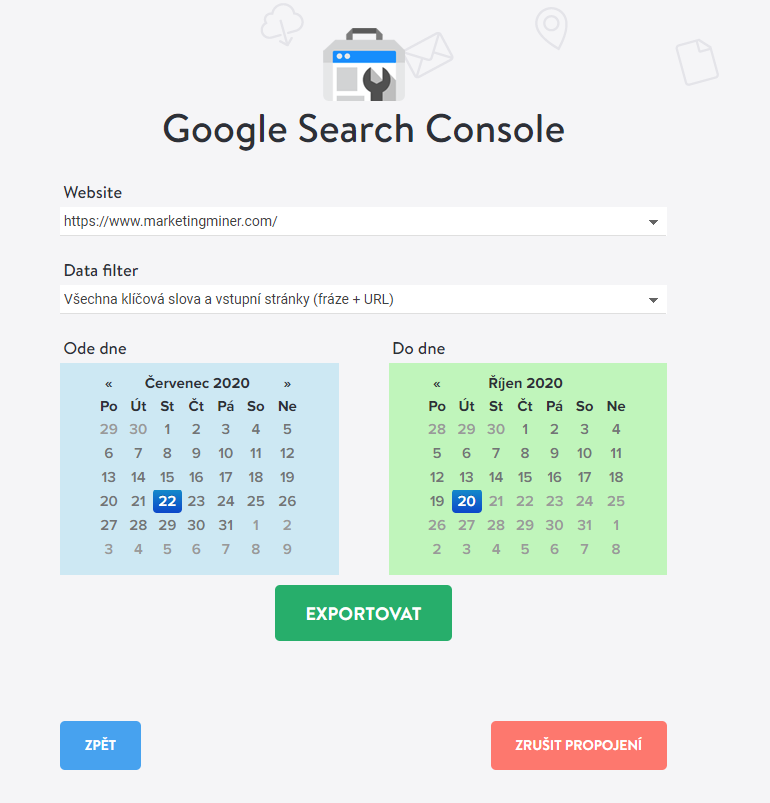 Google Search Console extraktor Marketing Miner