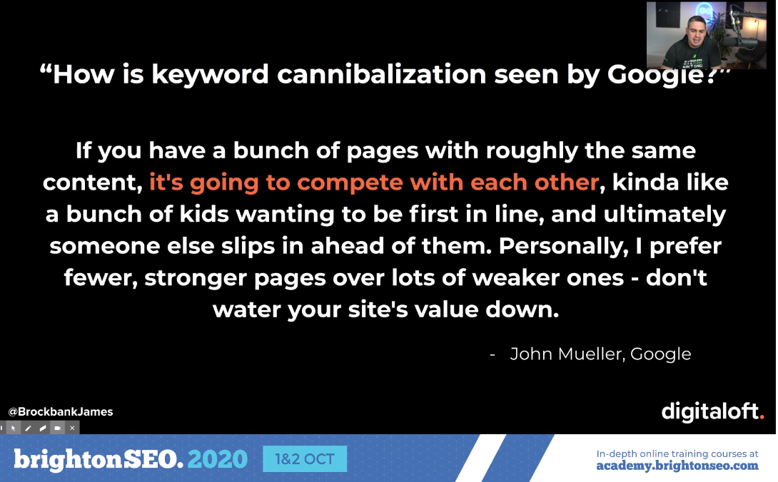 How is keyword cannibalization seen by Google