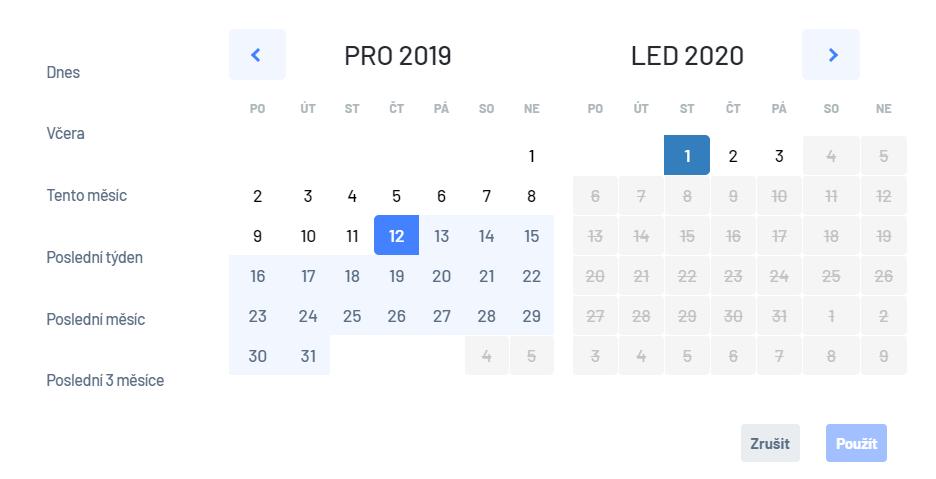 Ukázka nového kalendáře před výběrem datového rozsahu