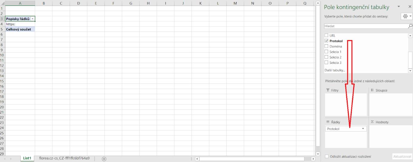 Kontingenční tabulka - úprava protokol a řádky