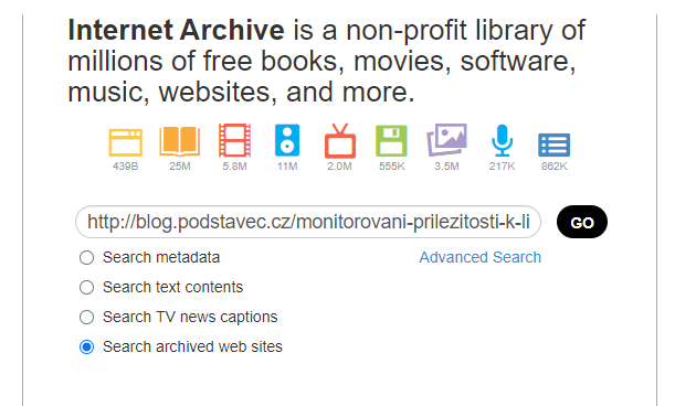 search archived web sites