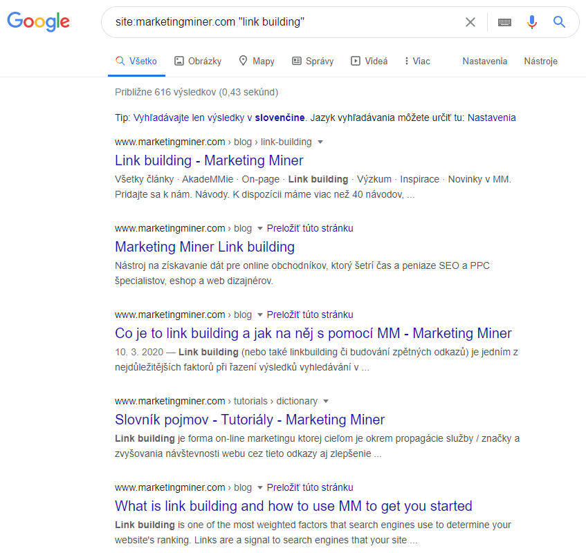 SERP výsledky Marketing Miner link building
