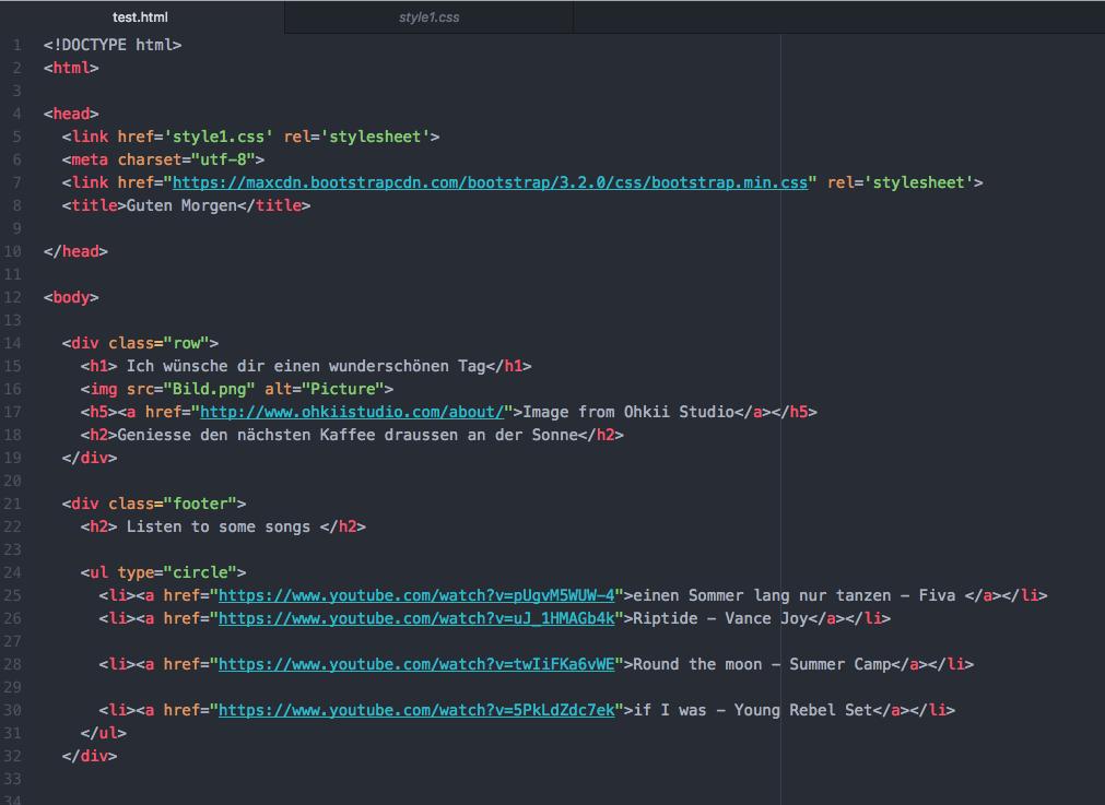 Code meiner Webpage