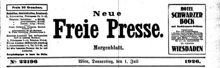 Testata della Neue Freie Presse al tempo di Freud