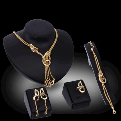 סט יוקרתי שרשרת, עגילים, צמיד וטבעת