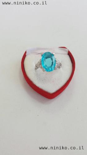 טבעת אבן קריסטל תכלת