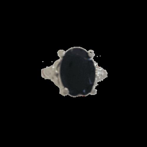 טבעת אבן קריסטל שחורה