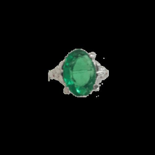 טבעת אבן קריסטל ירוקה