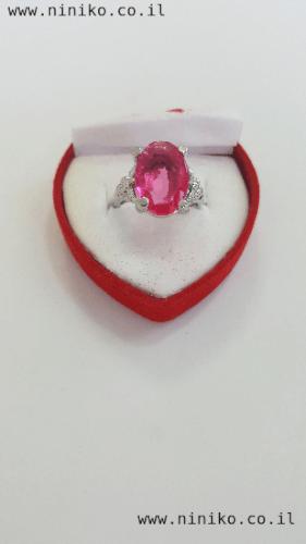 טבעת אבן קריסטל ורודה