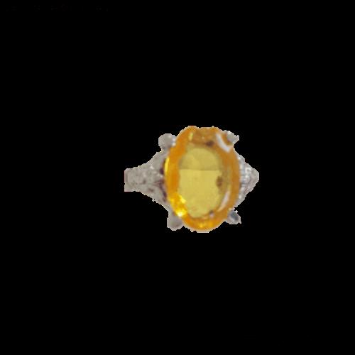 טבעת אבן קריסטל צהובה