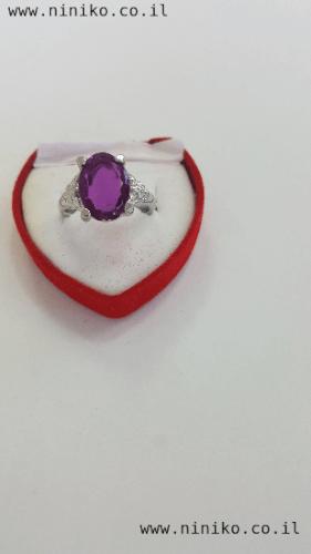 טבעת אבן קריסטל סגולה